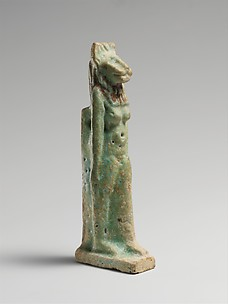 Faience amulet in the form of a lion-headed deity
