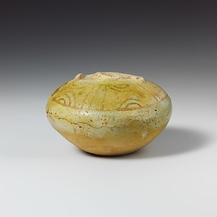 Fragmentary faience stirrup jar