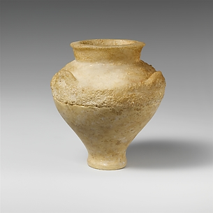 Miniature alabaster pithoid jar