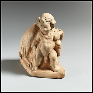 Terracotta vase in the form of a pygmy carrying a dead crane