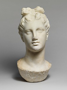 Marble head of a young woman from a funerary statue