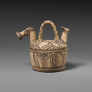 Terracotta askos (flask with spout and handle over the top)