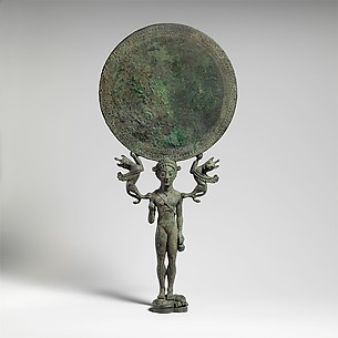 Bronze mirror with a support in the form of a nude girl