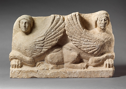Limestone funerary stele with antithetical sphinxes