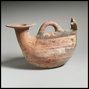 Terracotta askos (flask with a spout and handle over the top)