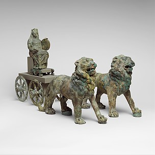 Bronze statuette of Cybele on a cart drawn by lions