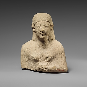 Upper part of a limestone female votary holding a vase