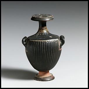 Terracotta miniature hydria: kalpis (water jar)