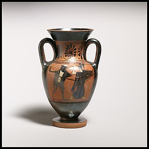 Terracotta neck-amphora (jar) with double handles