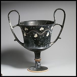 Terracotta kantharos (drinking cup with two high handles)