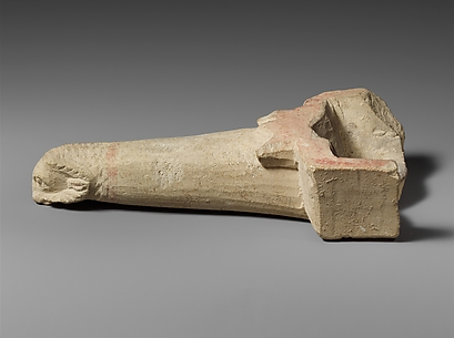 Limestone handle of a patera or a fire shovel ending in a ram's head