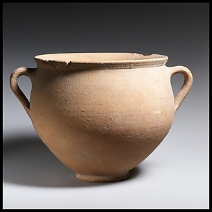 Terracotta deep bowl with two vertical handles