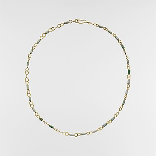 Gold necklace with emerald and variscite beads