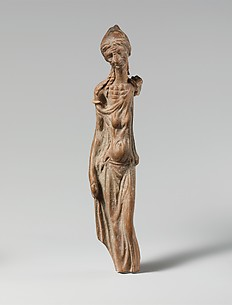 Terracotta statuette of an emaciated woman