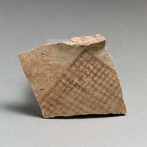 Terracotta upper-body fragment with hatched triangle, probably from a pyxis (box with lid)
