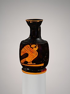 Miniature terracotta squat lekythos (oil flask) with siren