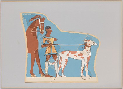 Reproduction of a fresco of a hunter with dog and horse
