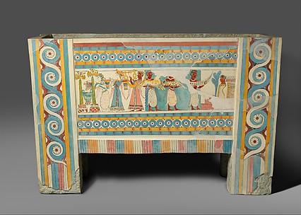 Reproduction of a painted limestone sarcophagus