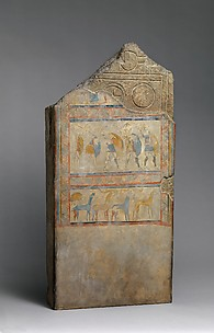 Reproduction of a painted stele with warriors