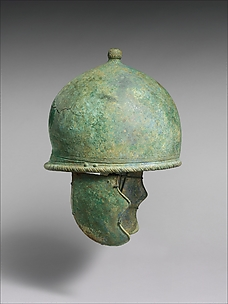 Bronze jockey-type helmet with cheek-guards