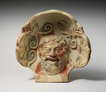 Terracotta antefix (roof tile) with head of a satyr