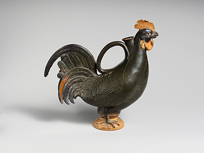 Terracotta askos (flask) in the form of a rooster