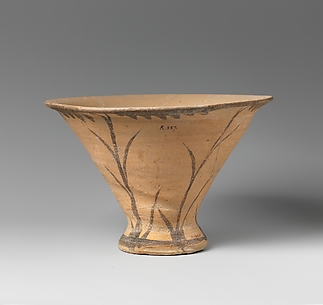 Terracotta kalathos (vase with flaring lip)
