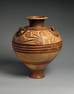 Terracotta jar with nautiluses