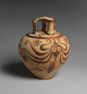 Terracotta stirrup jar with octopus