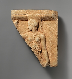 Marble fragment of a votive relief with Athena