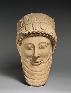 Limestone head of a man