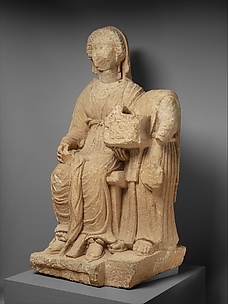 Limestone funerary monument of a woman