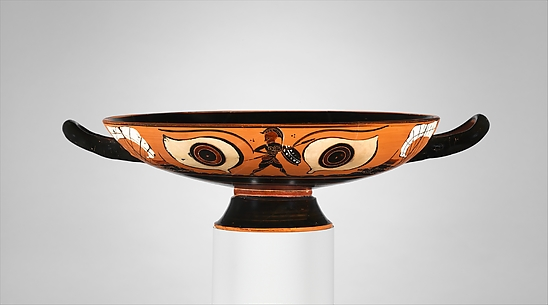 Terracotta kylix: eye-cup (drinking cup)