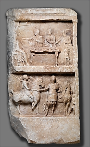 Marble grave relief with a funerary banquet and departing warriors