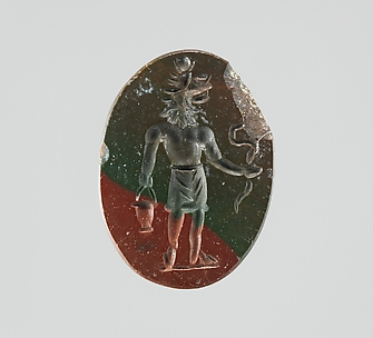 Jasper intaglio: Lion-headed god