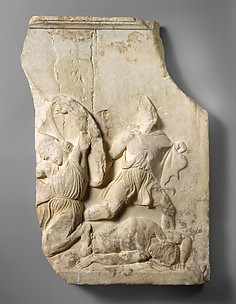 Fragment of a marble relief from a funerary monument