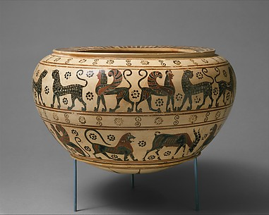 Terracotta dinos (mixing bowl)