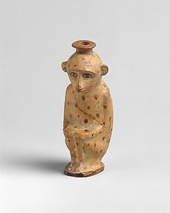 Terracotta aryballos (perfume vase) in the form of a monkey