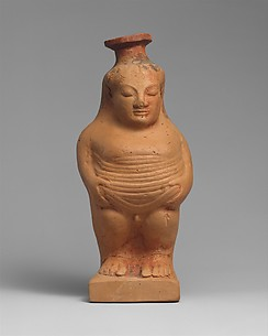 Terracotta aryballos (perfume vase) in the form of a boy