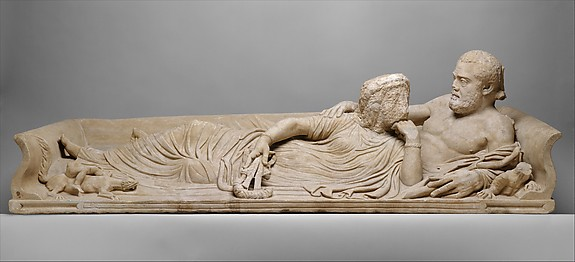 Marble sarcophagus lid with reclining couple