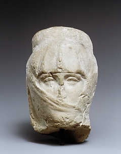 Terracotta head of a woman with a veil