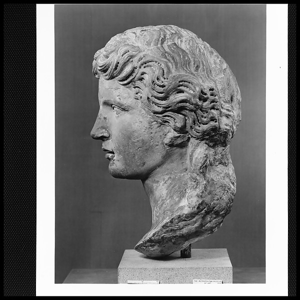 Head of a marble statue of Apollo