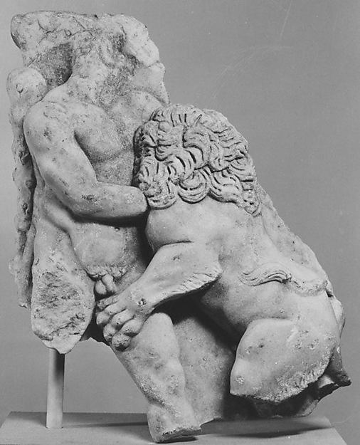 Left corner of a marble sarcophagus: Herakles and the Nemean Lion