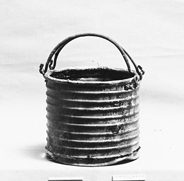 Bronze ribbed situla (bucket) with two handles