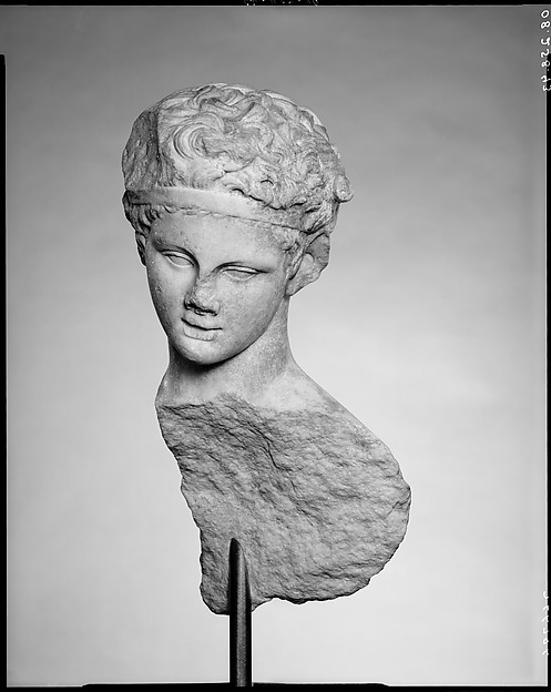 Head and part of the back of a marble statue