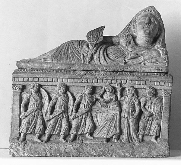 Travertine cinerary urn
