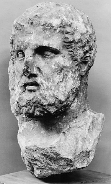 Marble head of a bearded man from a grave marker