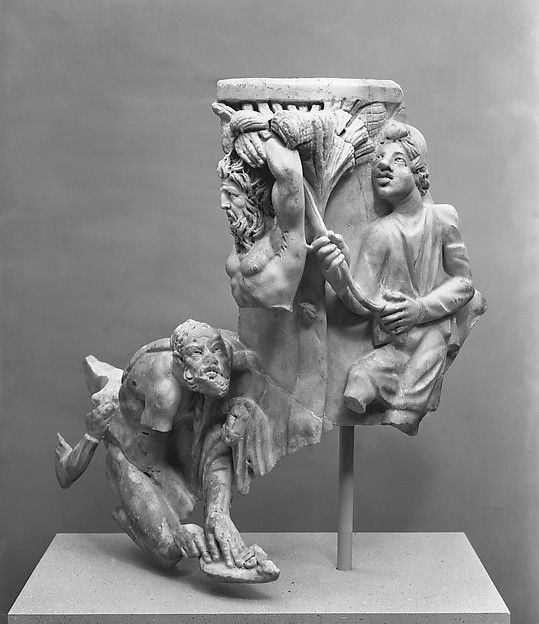 Right corner of a marble sarcophagus with the myth of Apollo and the satyr Marsyas