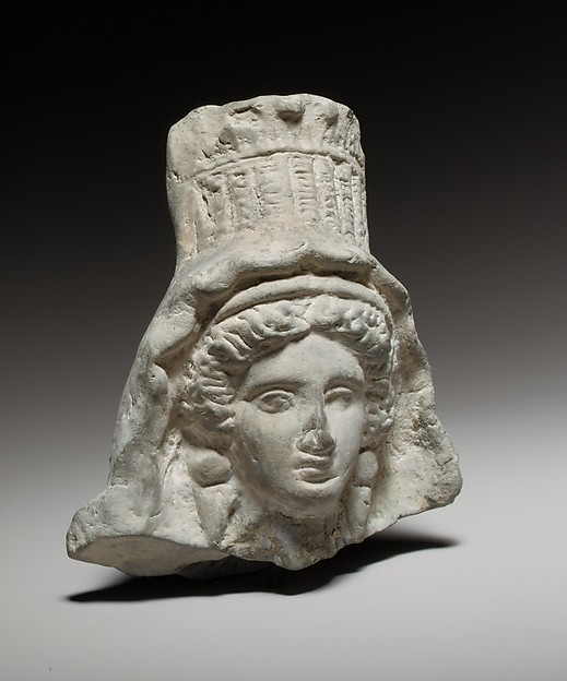 Terracotta head of a goddess