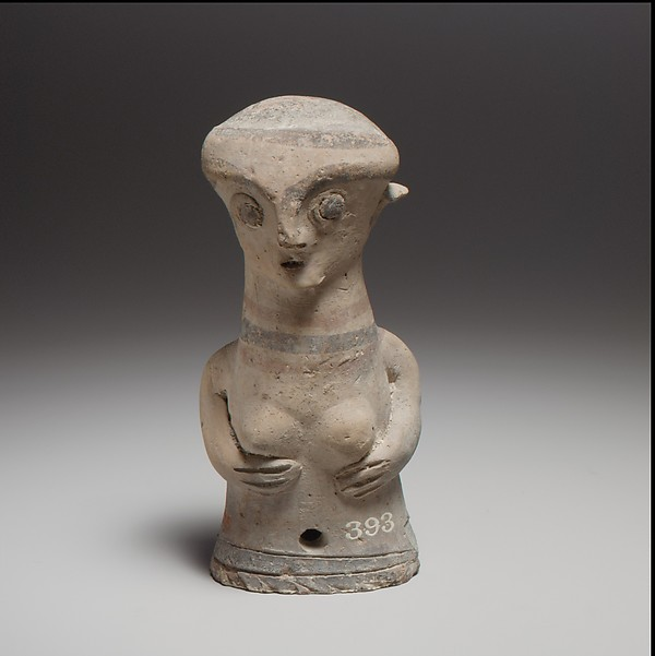 Terracotta statuette of the upper part of a woman